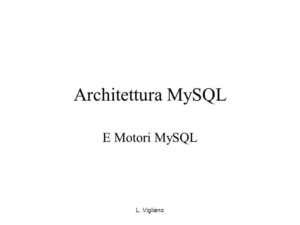 L. Vigliano Architettura MySQL E Motori MySQL