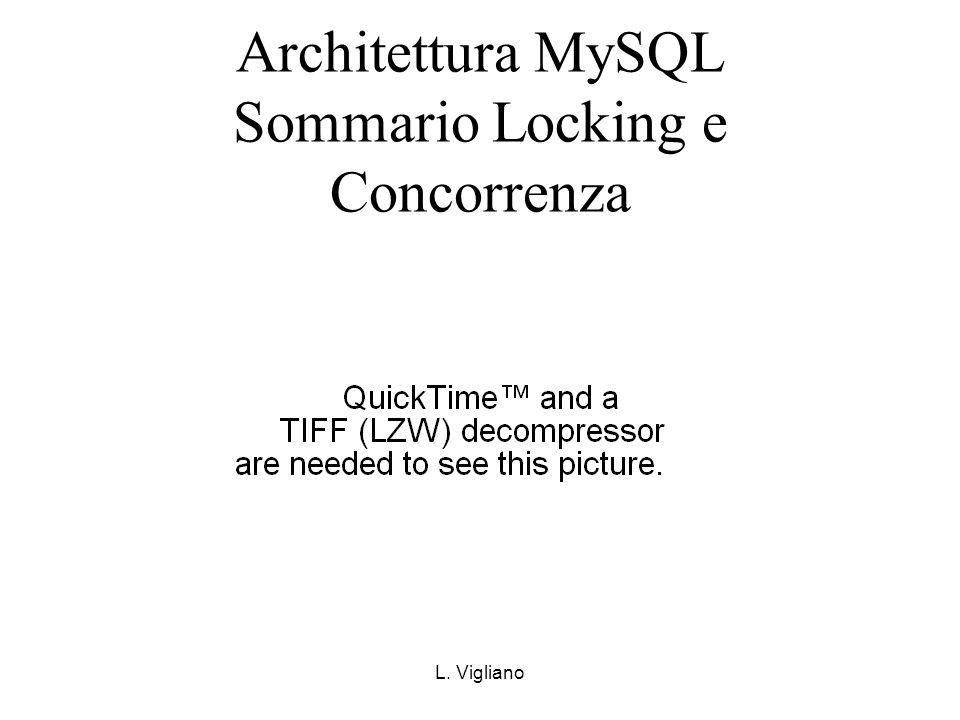 L. Vigliano Architettura MySQL Sommario Locking e Concorrenza