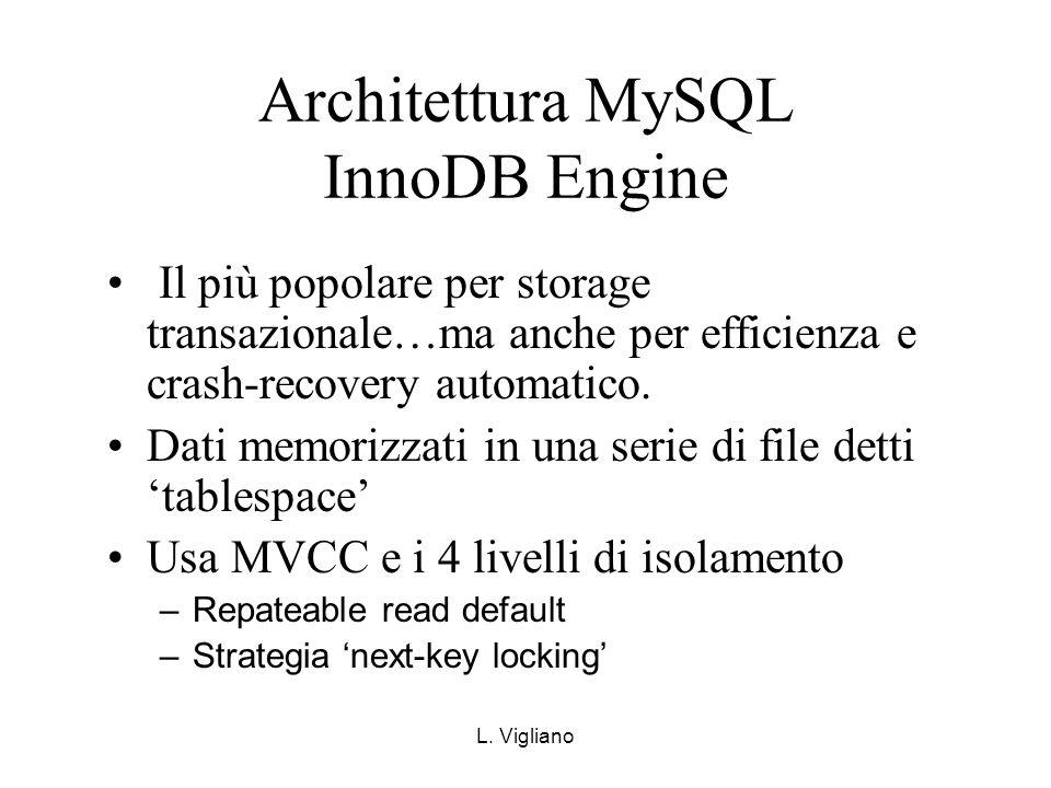 L. Vigliano Architettura MySQL InnoDB Engine Il più popolare per storage transazionale…ma anche per efficienza e crash-recovery automatico. Dati memor