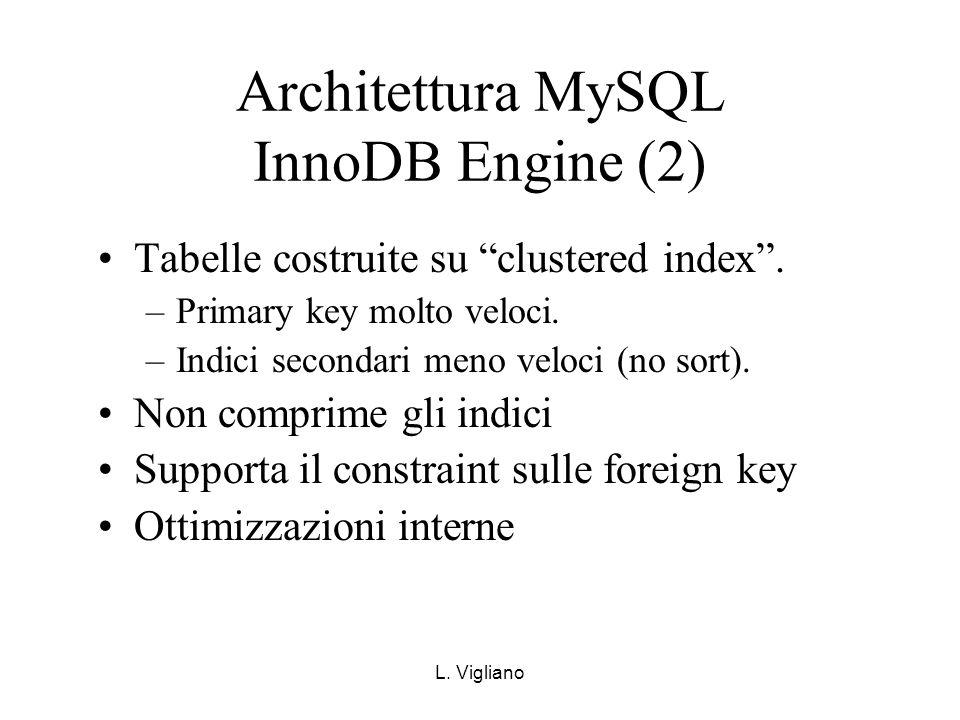 L. Vigliano Architettura MySQL InnoDB Engine (2) Tabelle costruite su clustered index. –Primary key molto veloci. –Indici secondari meno veloci (no so
