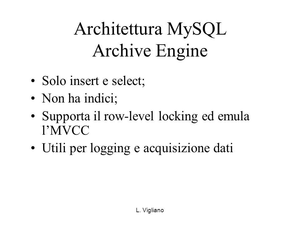 L. Vigliano Architettura MySQL Archive Engine Solo insert e select; Non ha indici; Supporta il row-level locking ed emula lMVCC Utili per logging e ac