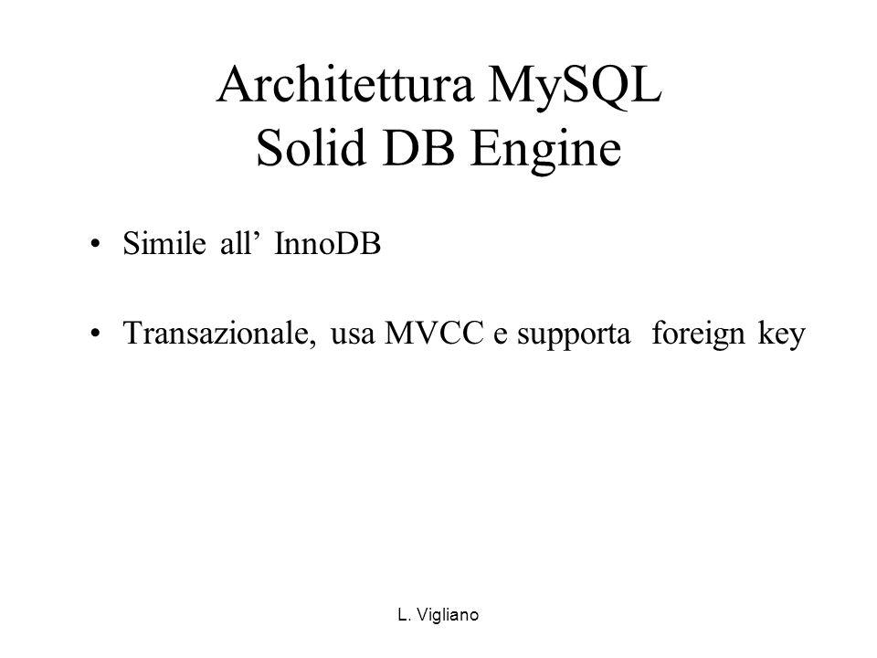 L. Vigliano Architettura MySQL Solid DB Engine Simile all InnoDB Transazionale, usa MVCC e supporta foreign key