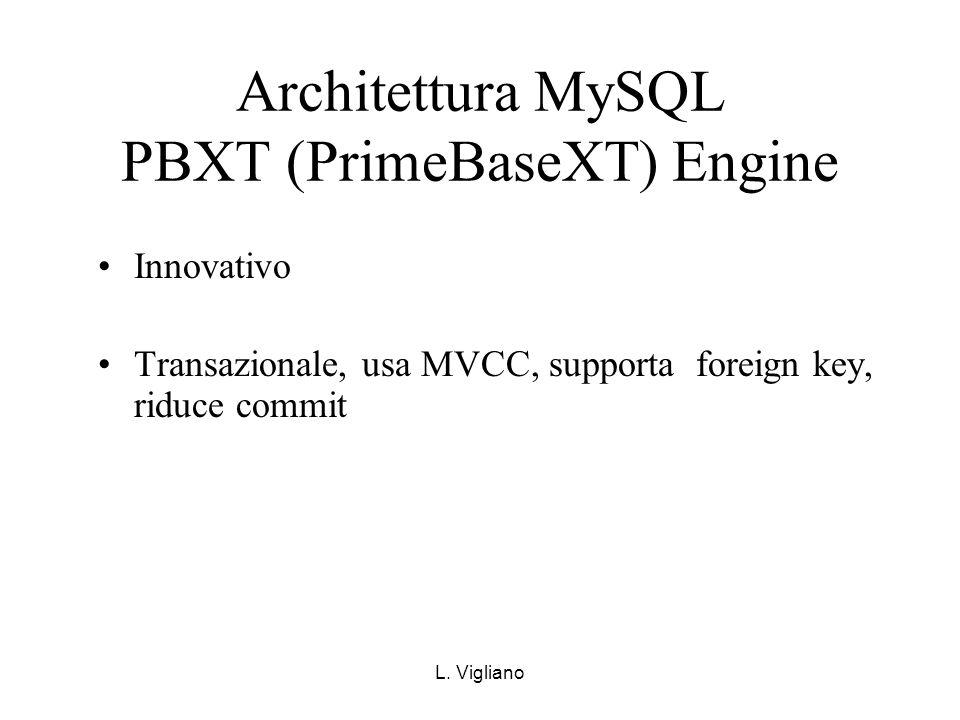 L. Vigliano Architettura MySQL PBXT (PrimeBaseXT) Engine Innovativo Transazionale, usa MVCC, supporta foreign key, riduce commit