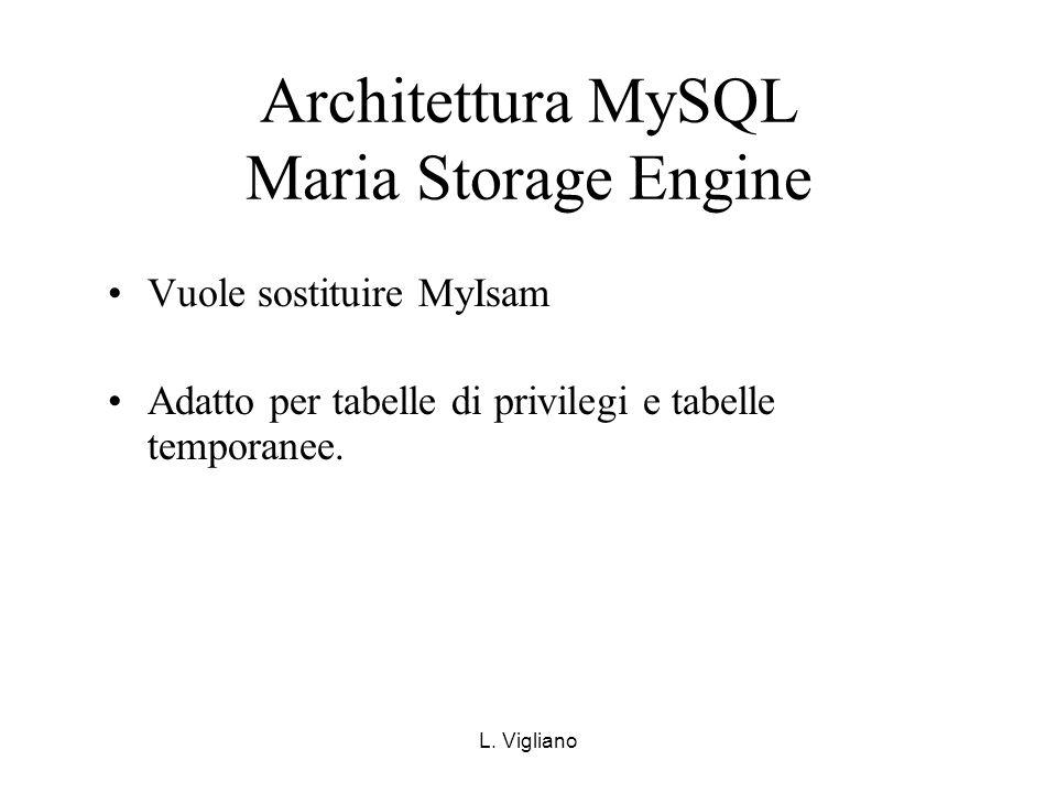 L. Vigliano Architettura MySQL Maria Storage Engine Vuole sostituire MyIsam Adatto per tabelle di privilegi e tabelle temporanee.