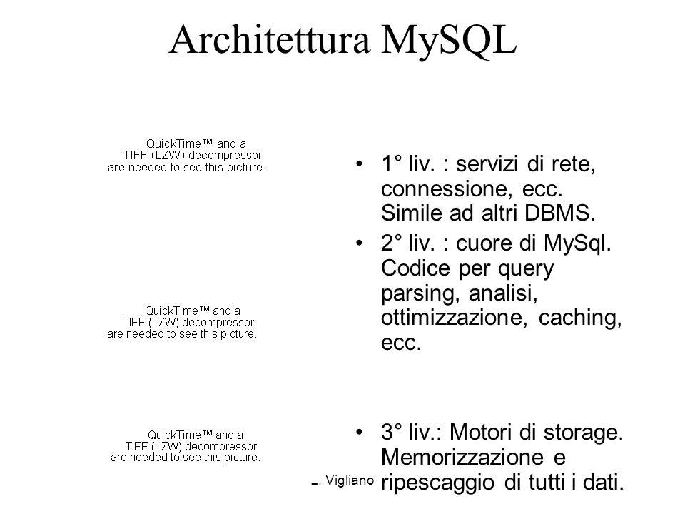L. Vigliano Architettura MySQL 1° liv. : servizi di rete, connessione, ecc. Simile ad altri DBMS. 2° liv. : cuore di MySql. Codice per query parsing,