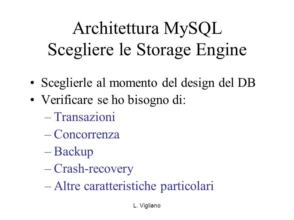 Architettura MySQL Scegliere le Storage Engine Sceglierle al momento del design del DB Verificare se ho bisogno di: –Transazioni –Concorrenza –Backup