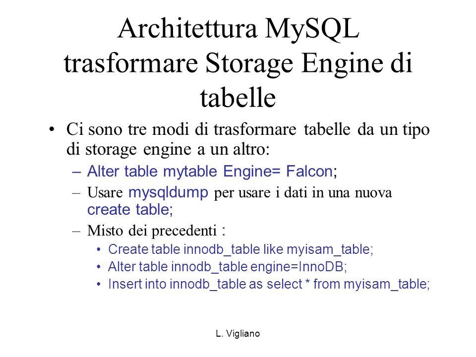 L. Vigliano Architettura MySQL trasformare Storage Engine di tabelle Ci sono tre modi di trasformare tabelle da un tipo di storage engine a un altro: