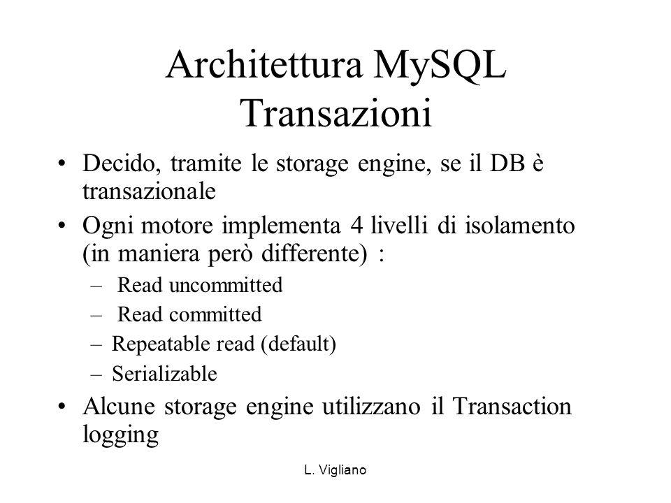 L. Vigliano Architettura MySQL Transazioni Decido, tramite le storage engine, se il DB è transazionale Ogni motore implementa 4 livelli di isolamento
