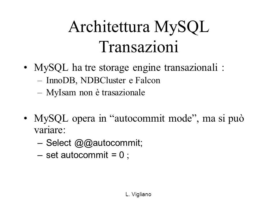 L. Vigliano Architettura MySQL Transazioni MySQL ha tre storage engine transazionali : –InnoDB, NDBCluster e Falcon –MyIsam non è trasazionale MySQL o