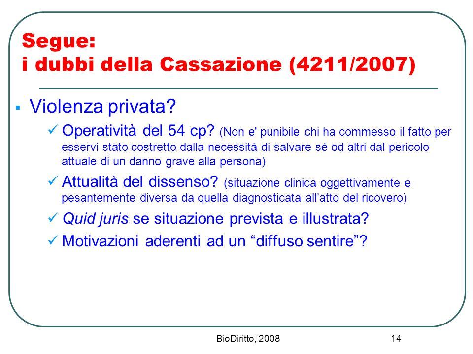BioDiritto, 2008 14 Segue: i dubbi della Cassazione (4211/2007) Violenza privata? Operatività del 54 cp? (Non e' punibile chi ha commesso il fatto per