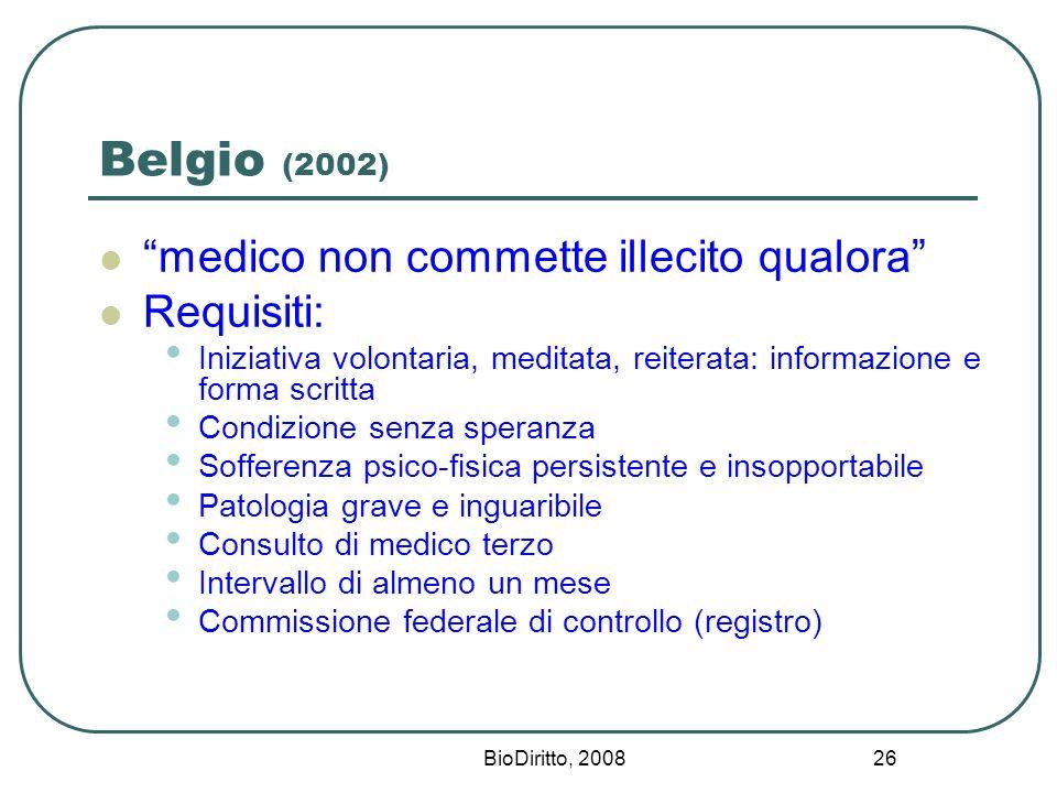 BioDiritto, 2008 26 Belgio (2002) medico non commette illecito qualora Requisiti: Iniziativa volontaria, meditata, reiterata: informazione e forma scr