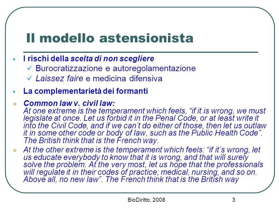 BioDiritto, 2008 3 Il modello astensionista I rischi della scelta di non scegliere Burocratizzazione e autoregolamentazione Laissez faire e medicina d