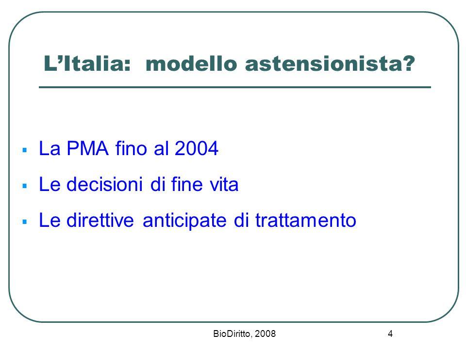 BioDiritto, 2008 4 LItalia: modello astensionista? La PMA fino al 2004 Le decisioni di fine vita Le direttive anticipate di trattamento