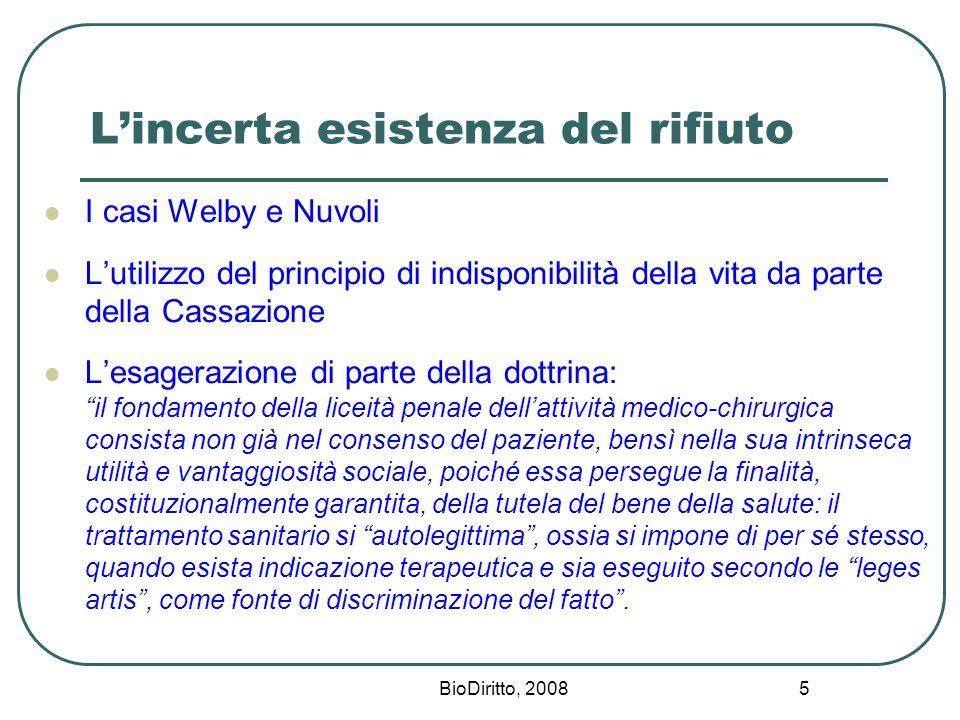 BioDiritto, 2008 5 Lincerta esistenza del rifiuto I casi Welby e Nuvoli Lutilizzo del principio di indisponibilità della vita da parte della Cassazion