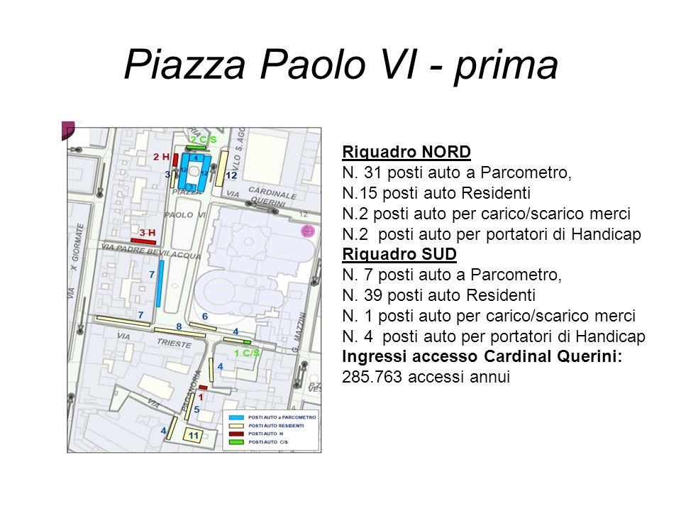 Piazza Paolo VI - prima Riquadro NORD N. 31 posti auto a Parcometro, N.15 posti auto Residenti N.2 posti auto per carico/scarico merci N.2 posti auto