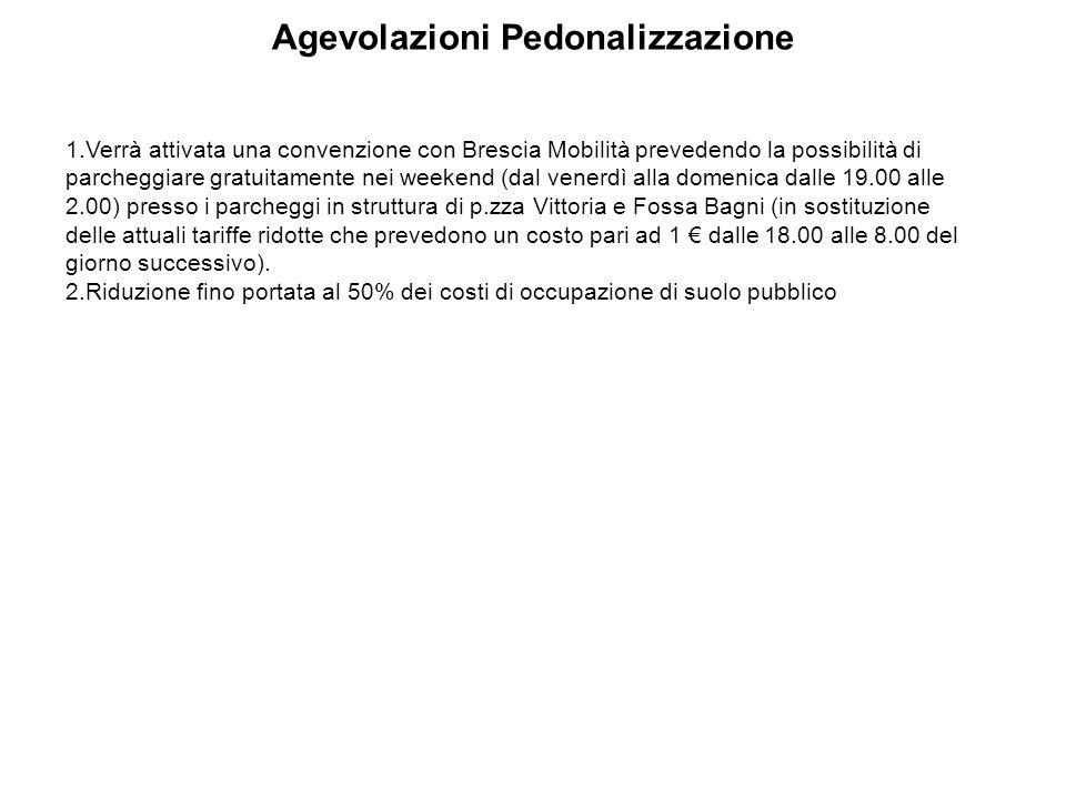 Agevolazioni Pedonalizzazione 1. Verrà attivata una convenzione con Brescia Mobilità prevedendo la possibilità di parcheggiare gratuitamente nei weeke