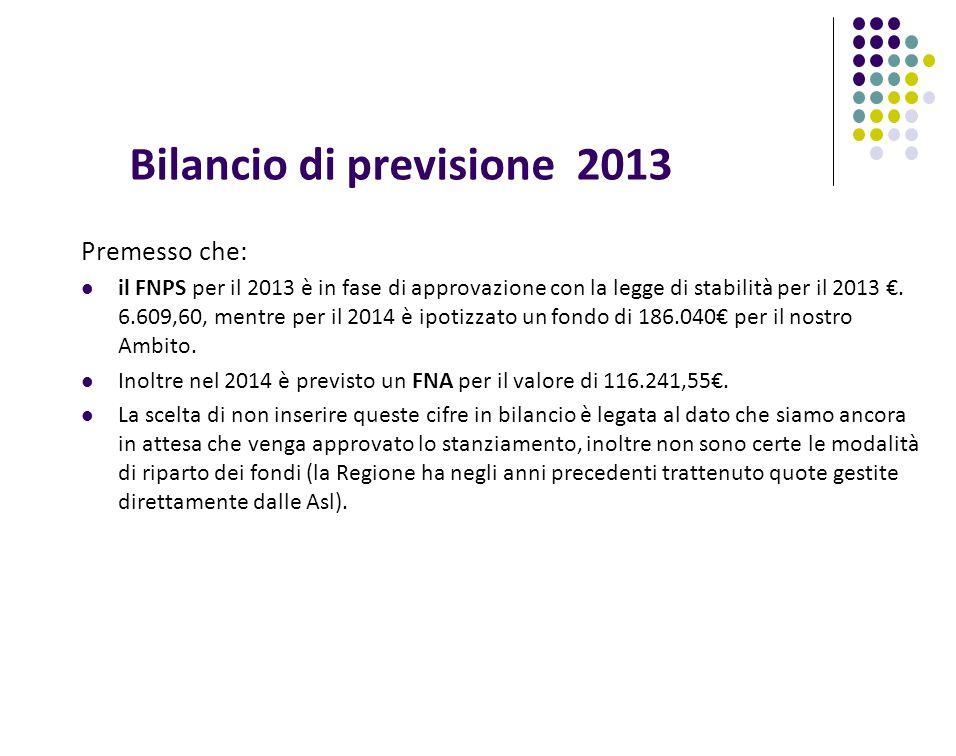 Bilancio di previsione 2013 Premesso che: il FNPS per il 2013 è in fase di approvazione con la legge di stabilità per il 2013.