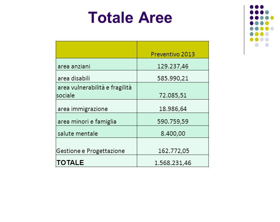 Totale Aree Preventivo 2013 area anziani129.237,46 area disabili585.990,21 area vulnerabilità e fragilità sociale72.085,51 area immigrazione18.986,64 area minori e famiglia590.759,59 salute mentale8.400,00 Gestione e Progettazione 162.772,05 TOTALE 1.568.231,46