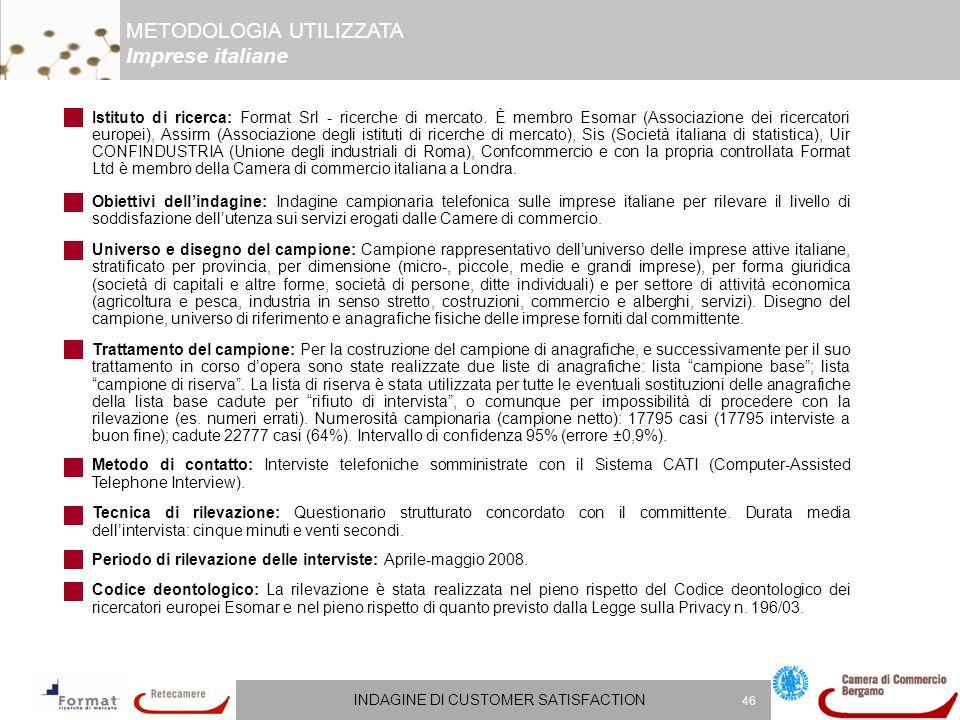 INDAGINE DI CUSTOMER SATISFACTION 46 Istituto di ricerca: Format Srl - ricerche di mercato.