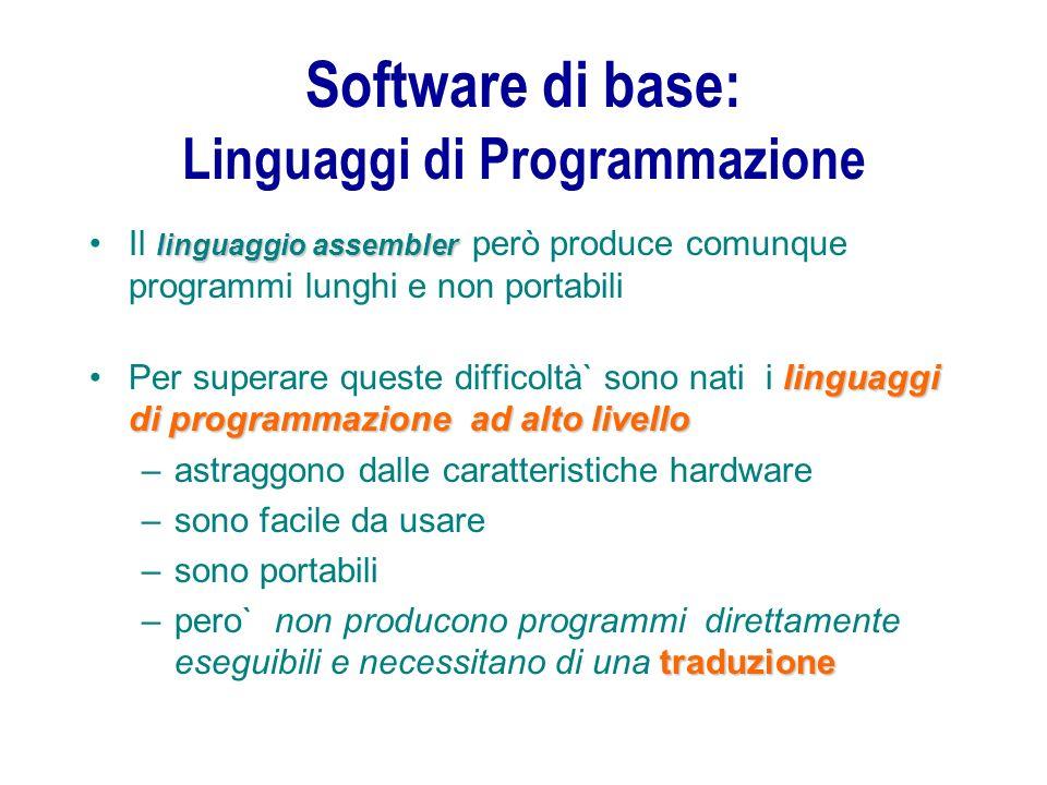 Software di base: Linguaggi di Programmazione linguaggioassemblerIl linguaggio assembler però produce comunque programmi lunghi e non portabili lingua