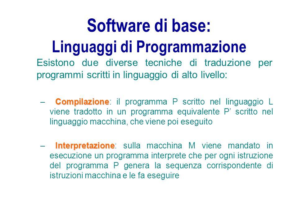 Software di base: Linguaggi di Programmazione Esistono due diverse tecniche di traduzione per programmi scritti in linguaggio di alto livello: Compila