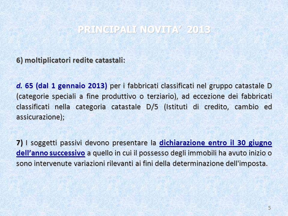6) moltiplicatori redite catastali: d.