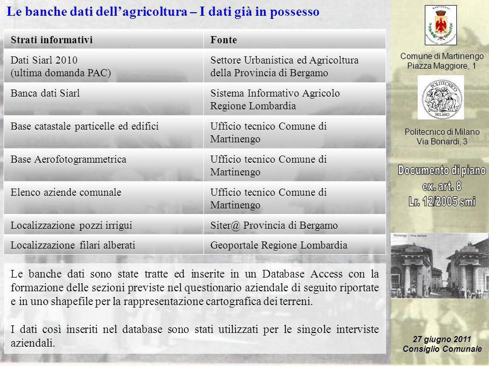 Comune di Martinengo Piazza Maggiore, 1 Politecnico di Milano Via Bonardi, 3 27 giugno 2011 Consiglio Comunale Le banche dati dellagricoltura – I dati