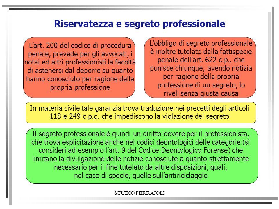 STUDIO FERRAJOLI Riservatezza e segreto professionale Lart. 200 del codice di procedura penale, prevede per gli avvocati, i notai ed altri professioni