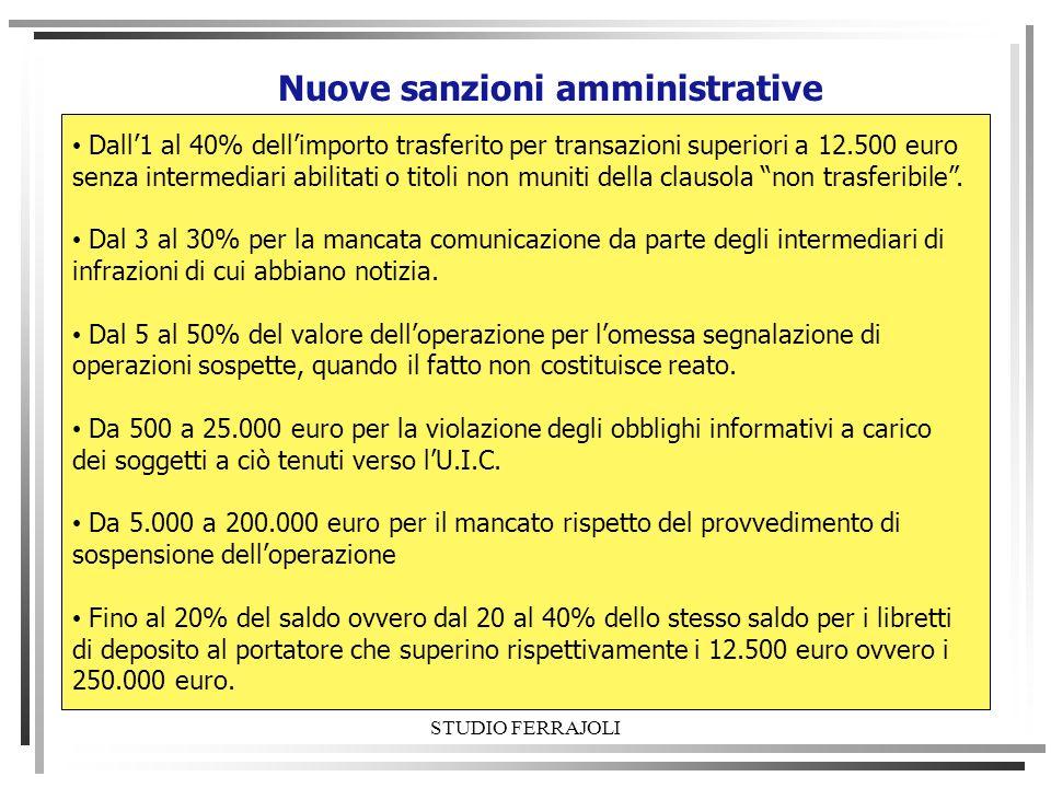 STUDIO FERRAJOLI Nuove sanzioni amministrative Dall1 al 40% dellimporto trasferito per transazioni superiori a 12.500 euro senza intermediari abilitat
