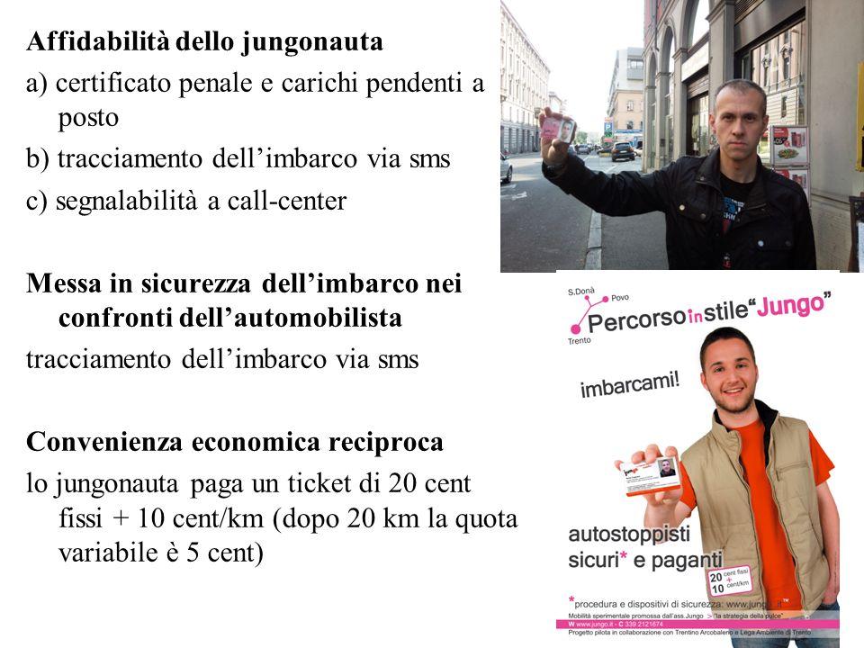 Affidabilità dello jungonauta a) certificato penale e carichi pendenti a posto b) tracciamento dellimbarco via sms c) segnalabilità a call-center Mess