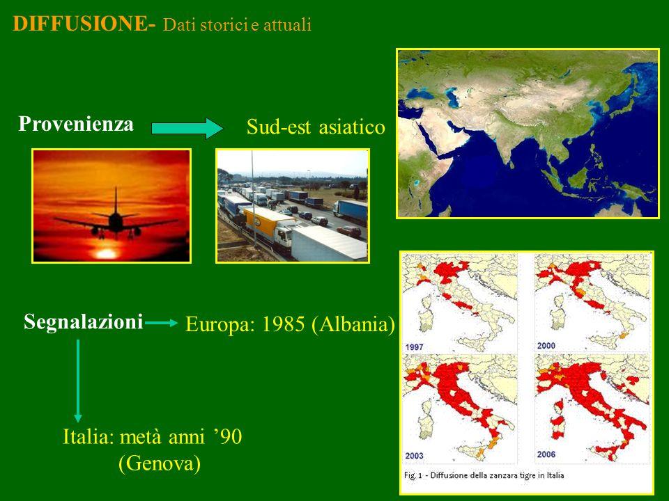 DIFFUSIONE- Dati storici e attuali Provenienza Sud-est asiatico Segnalazioni Europa: 1985 (Albania) Italia: metà anni 90 (Genova)