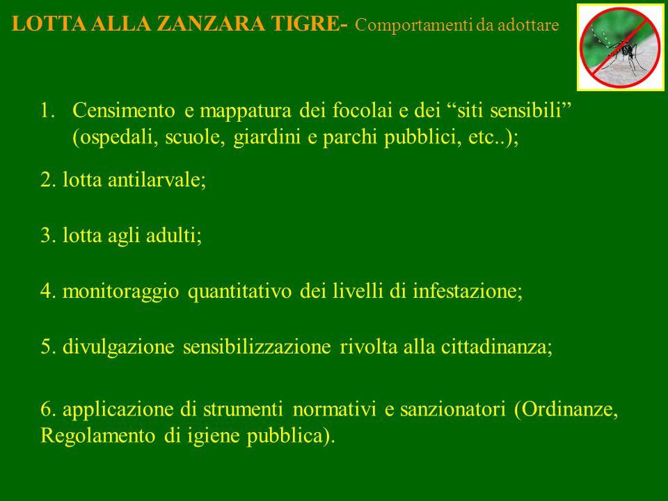 LOTTA ALLA ZANZARA TIGRE- Comportamenti da adottare 1.Censimento e mappatura dei focolai e dei siti sensibili (ospedali, scuole, giardini e parchi pub