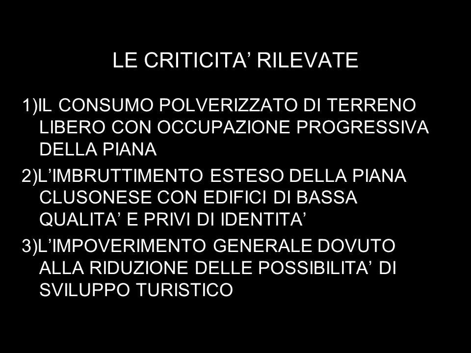 LE CRITICITA RILEVATE 1)IL CONSUMO POLVERIZZATO DI TERRENO LIBERO CON OCCUPAZIONE PROGRESSIVA DELLA PIANA 2)LIMBRUTTIMENTO ESTESO DELLA PIANA CLUSONESE CON EDIFICI DI BASSA QUALITA E PRIVI DI IDENTITA 3)LIMPOVERIMENTO GENERALE DOVUTO ALLA RIDUZIONE DELLE POSSIBILITA DI SVILUPPO TURISTICO