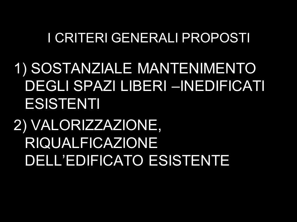 I CRITERI GENERALI PROPOSTI 1) SOSTANZIALE MANTENIMENTO DEGLI SPAZI LIBERI –INEDIFICATI ESISTENTI 2) VALORIZZAZIONE, RIQUALFICAZIONE DELLEDIFICATO ESISTENTE