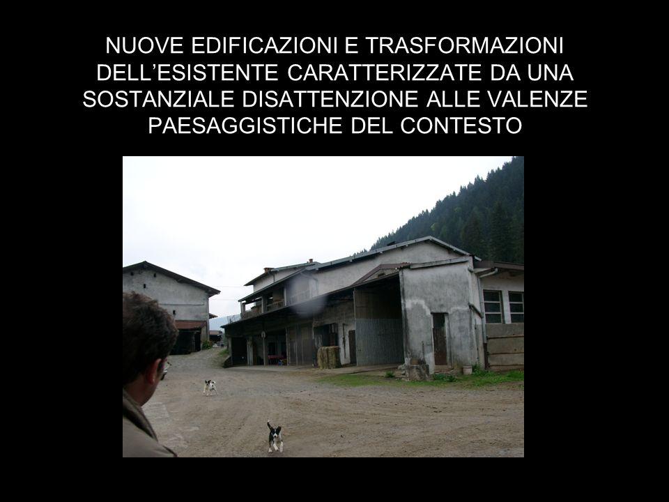 NUOVE EDIFICAZIONI E TRASFORMAZIONI DELLESISTENTE CARATTERIZZATE DA UNA SOSTANZIALE DISATTENZIONE ALLE VALENZE PAESAGGISTICHE DEL CONTESTO
