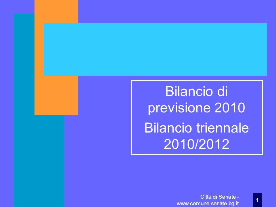 Città di Seriate - www.comune.seriate.bg.it22 Le entrate per la gestione del Piano di zona per i servizi sociali Il Titolo 2° comprende per questa voce 1.911.069