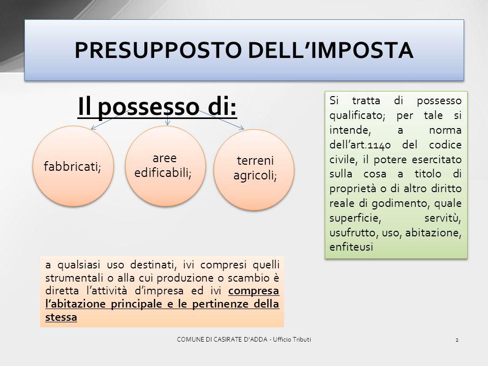 1COMUNE DI CASIRATE D'ADDA - Ufficio Tributi I.M.U. SOSTITUISCE I.M.U. SOSTITUISCE I.C.I. IRPEF SUI REDDITI FONDIARI DEGLI IMMOBILI NON LOCATI ADDIZIO