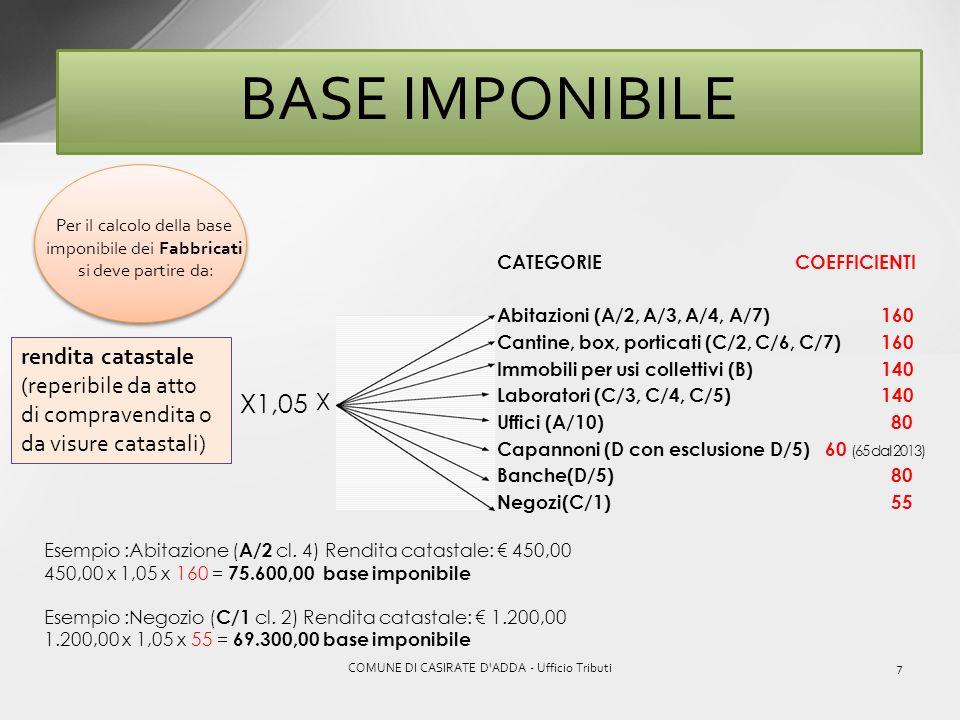 6COMUNE DI CASIRATE D'ADDA - Ufficio Tributi Come si calcola lI.M.U.? BASE IMPONIBILE X ALIQUOTA (deliberata dal Comune) – = DETRAZIONE (se compete) I