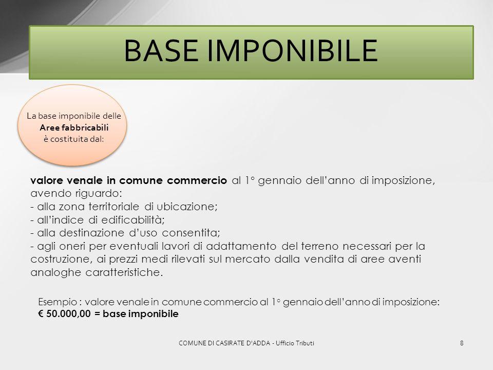 7COMUNE DI CASIRATE D'ADDA - Ufficio Tributi BASE IMPONIBILE Per il calcolo della base imponibile dei Fabbricati si deve partire da: rendita catastale