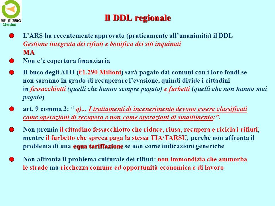 Il DDL regionale LARS ha recentemente approvato (praticamente allunanimità) il DDL Gestione integrata dei rifiuti e bonifica dei siti inquinatiMA Non