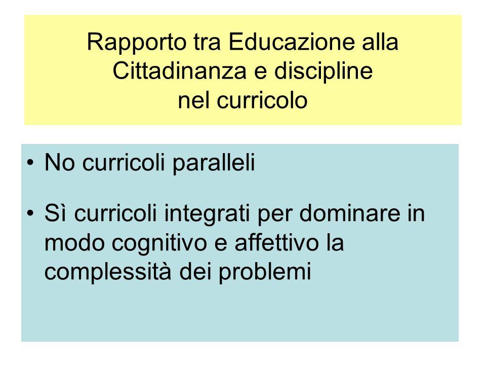 Rapporto tra Educazione alla Cittadinanza e discipline nel curricolo No curricoli paralleli Sì curricoli integrati per dominare in modo cognitivo e affettivo la complessità dei problemi