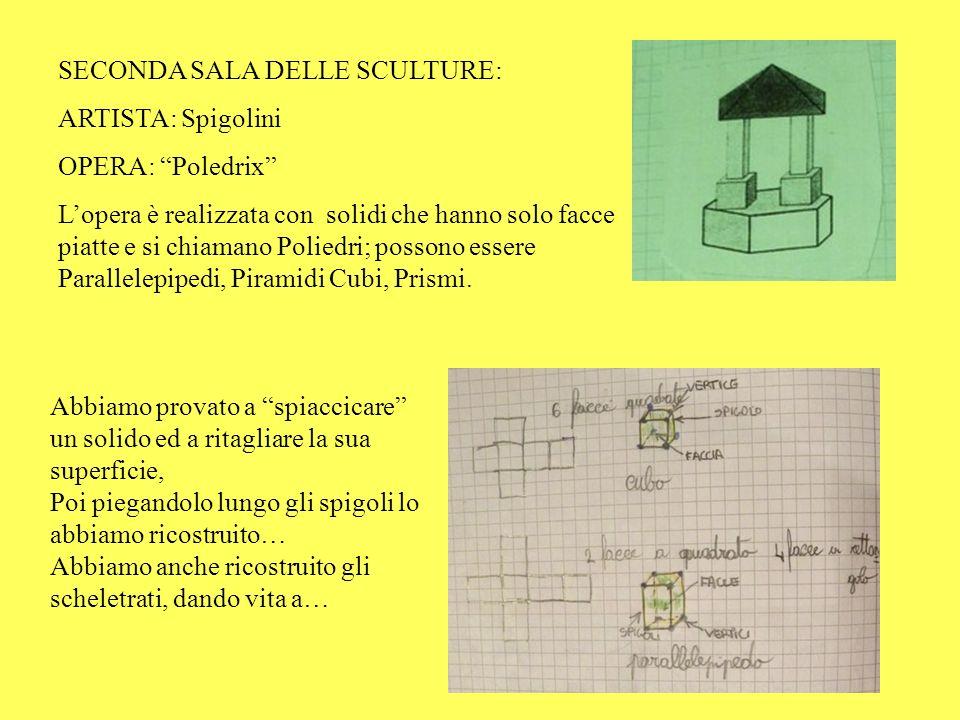 SECONDA SALA DELLE SCULTURE: ARTISTA: Spigolini OPERA: Poledrix Lopera è realizzata con solidi che hanno solo facce piatte e si chiamano Poliedri; pos