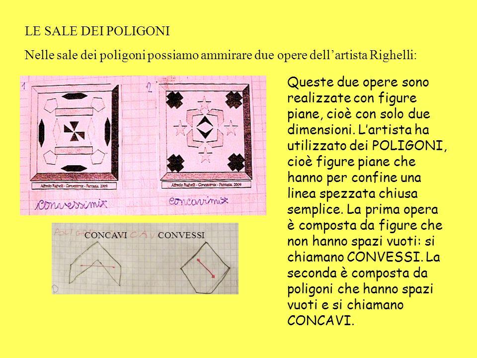 LE SALE DEI POLIGONI Nelle sale dei poligoni possiamo ammirare due opere dellartista Righelli: Queste due opere sono realizzate con figure piane, cioè