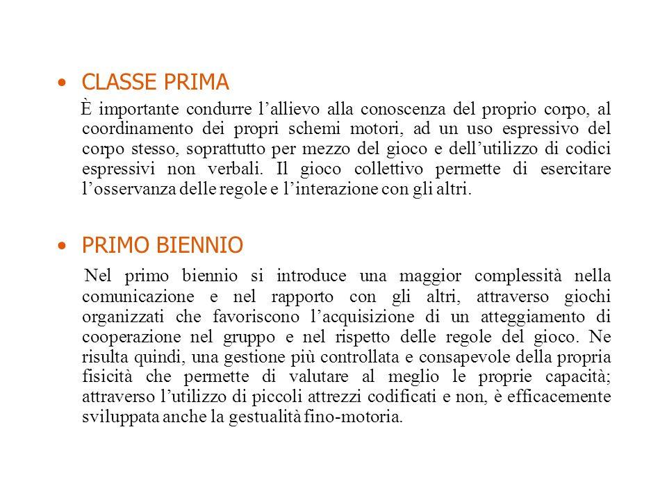 CLASSE PRIMA È importante condurre lallievo alla conoscenza del proprio corpo, al coordinamento dei propri schemi motori, ad un uso espressivo del cor
