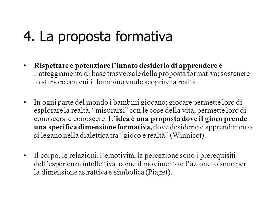 4. La proposta formativa Rispettare e potenziare linnato desiderio di apprendere è latteggiamento di base trasversale della proposta formativa; sosten