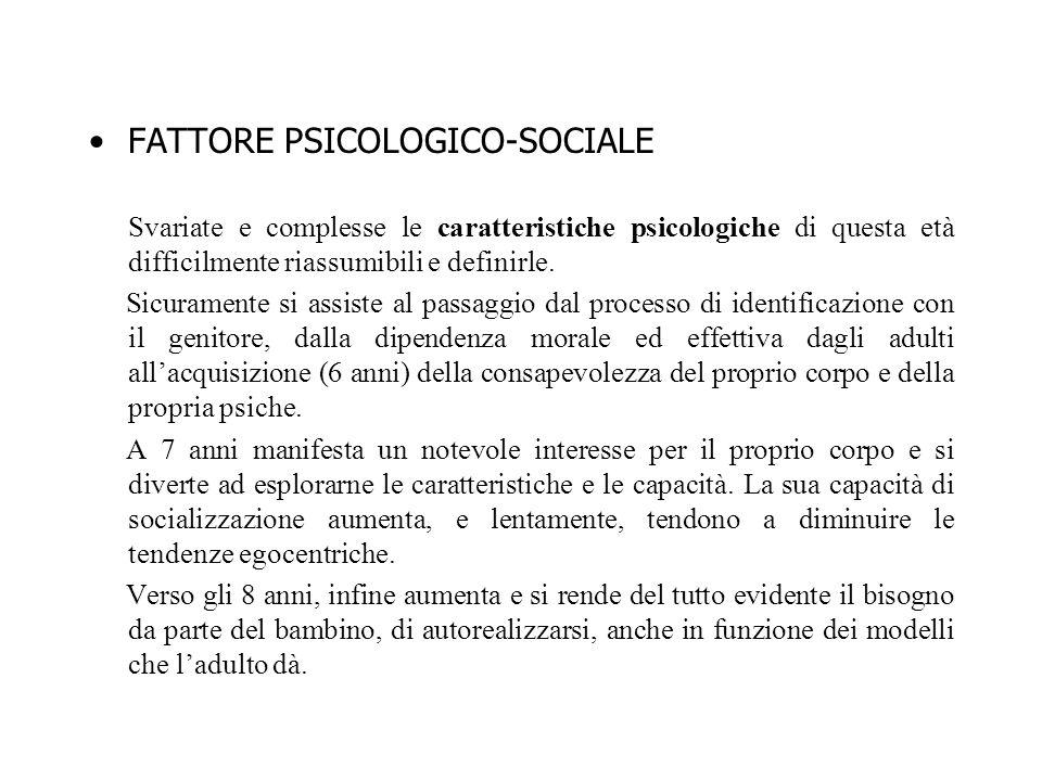 FATTORE PSICOLOGICO-SOCIALE Svariate e complesse le caratteristiche psicologiche di questa età difficilmente riassumibili e definirle. Sicuramente si