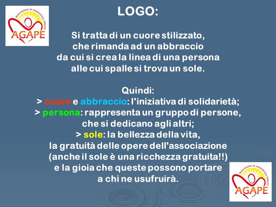 LOGO: Si tratta di un cuore stilizzato, che rimanda ad un abbraccio da cui si crea la linea di una persona alle cui spalle si trova un sole. Quindi: >
