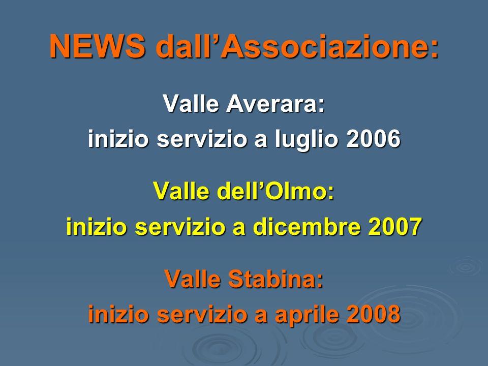 NEWS dallAssociazione: Valle Averara: inizio servizio a luglio 2006 Valle dellOlmo: inizio servizio a dicembre 2007 Valle Stabina: inizio servizio a aprile 2008