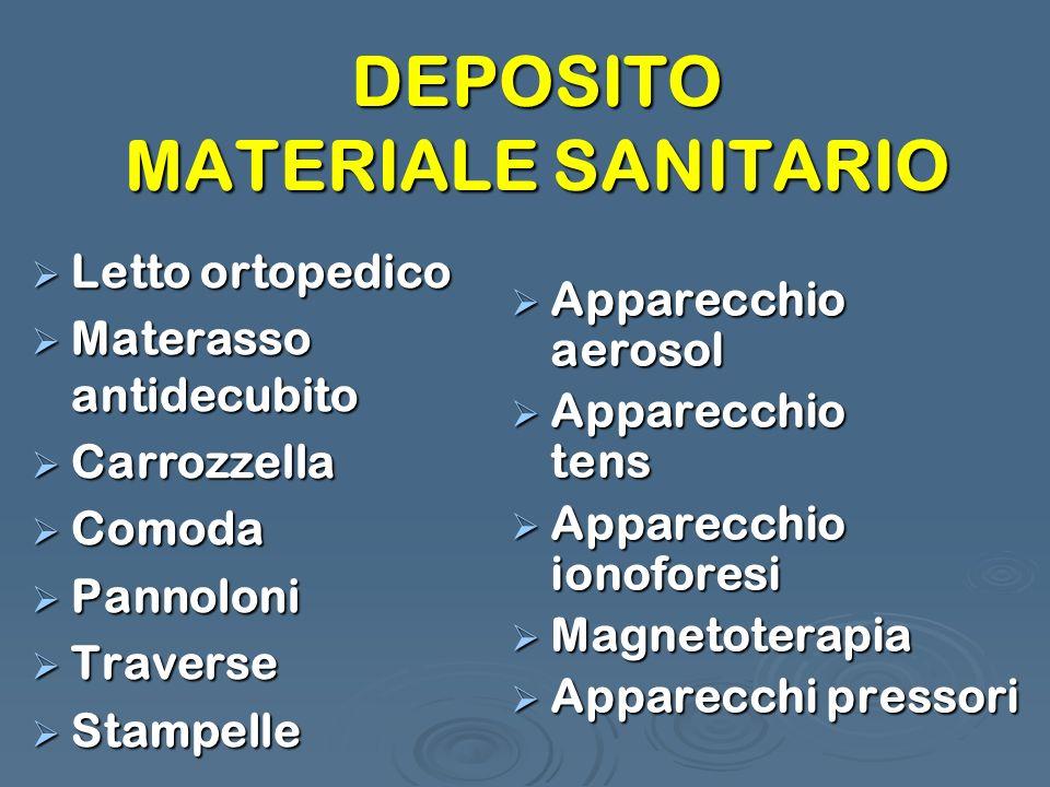 DEPOSITO MATERIALE SANITARIO Letto ortopedico Letto ortopedico Materasso antidecubito Materasso antidecubito Carrozzella Carrozzella Comoda Comoda Pan
