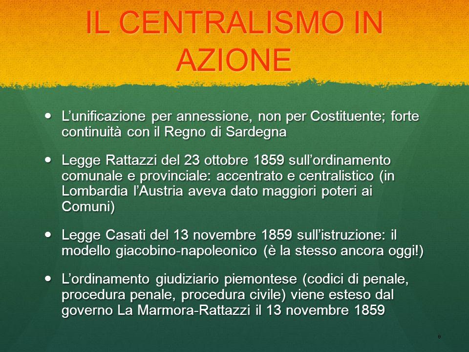 IL CENTRALISMO IN AZIONE Lunificazione per annessione, non per Costituente; forte continuità con il Regno di Sardegna Lunificazione per annessione, no